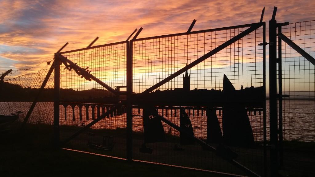 Sunset thru' the gates.